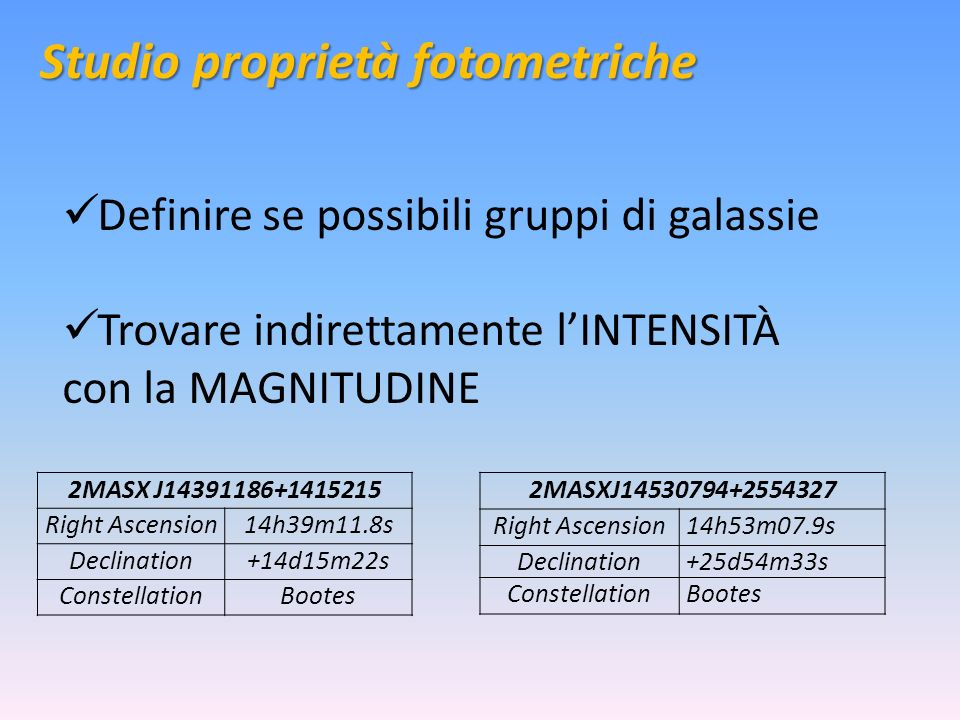 Studio proprietà fotometriche Definire se possibili gruppi di galassie Trovare indirettamente lINTENSITÀ con la MAGNITUDINE 2MASX J14391186+1415215 Right Ascension14h39m11.8s Declination+14d15m22s ConstellationBootes 2MASXJ14530794+2554327 Right Ascension14h53m07.9s Declination+25d54m33s ConstellationBootes