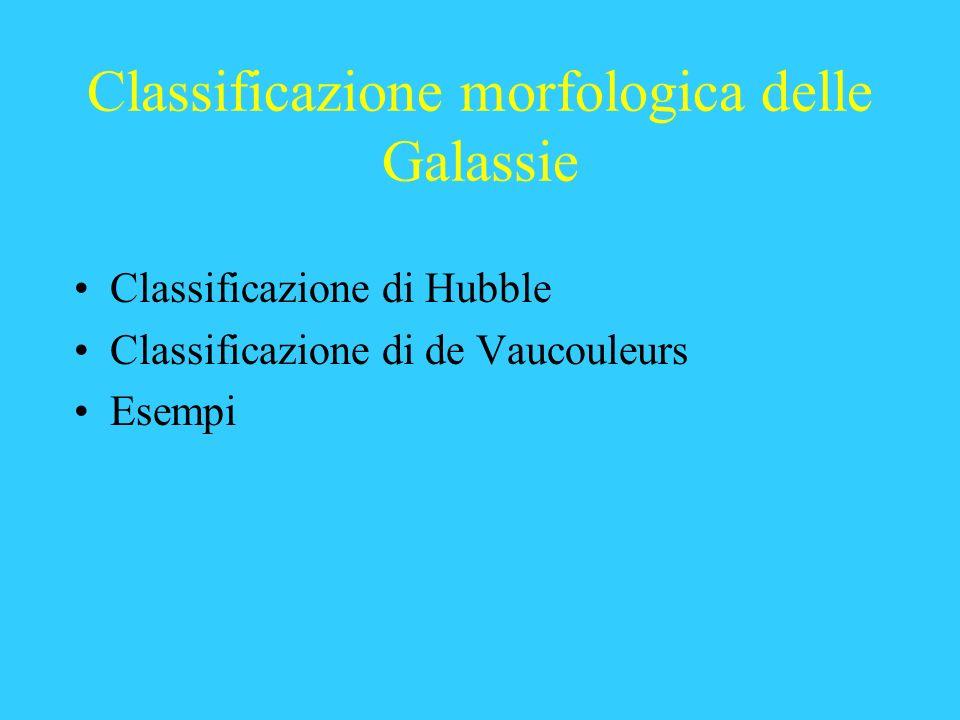 Classificazione morfologica delle Galassie Classificazione di Hubble Classificazione di de Vaucouleurs Esempi
