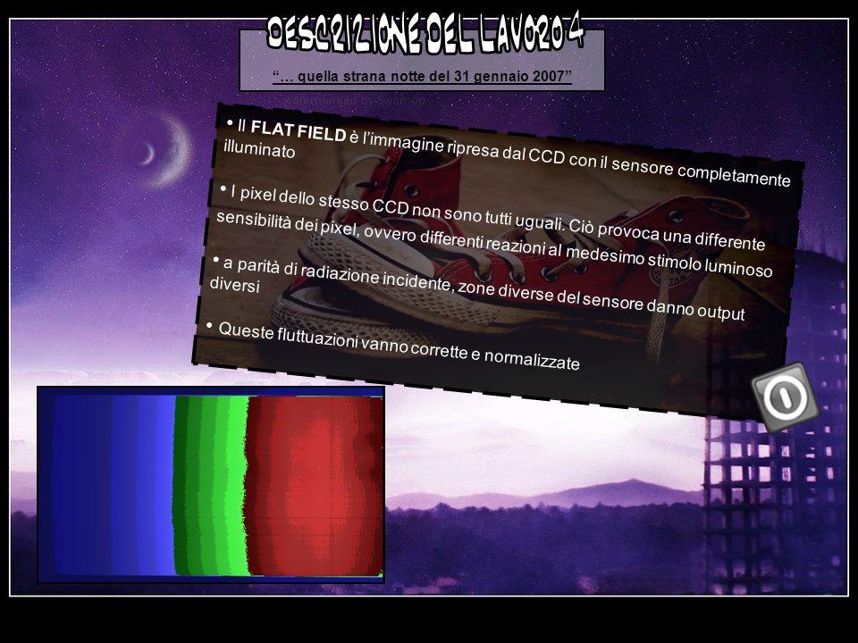 … quella strana notte del 31 gennaio 2007 Il FLAT FIELD è limmagine ripresa dal CCD con il sensore completamente illuminato I pixel dello stesso CCD non sono tutti uguali.