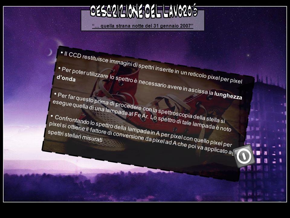 … quella strana notte del 31 gennaio 2007 Il CCD restituisce immagini di spettri inserite in un reticolo pixel per pixel Per poter utilizzare lo spettro è necessario avere in ascissa la lunghezza donda Per far questo prima di procedere con la spettroscopia della stella si esegue quella di una lampada al Fe Ar.