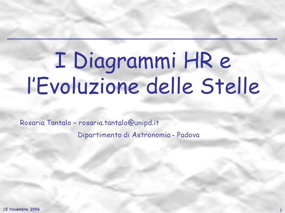 15 Novembre 2006 1 I Diagrammi HR e lEvoluzione delle Stelle Rosaria Tantalo – rosaria.tantalo@unipd.it Dipartimento di Astronomia - Padova