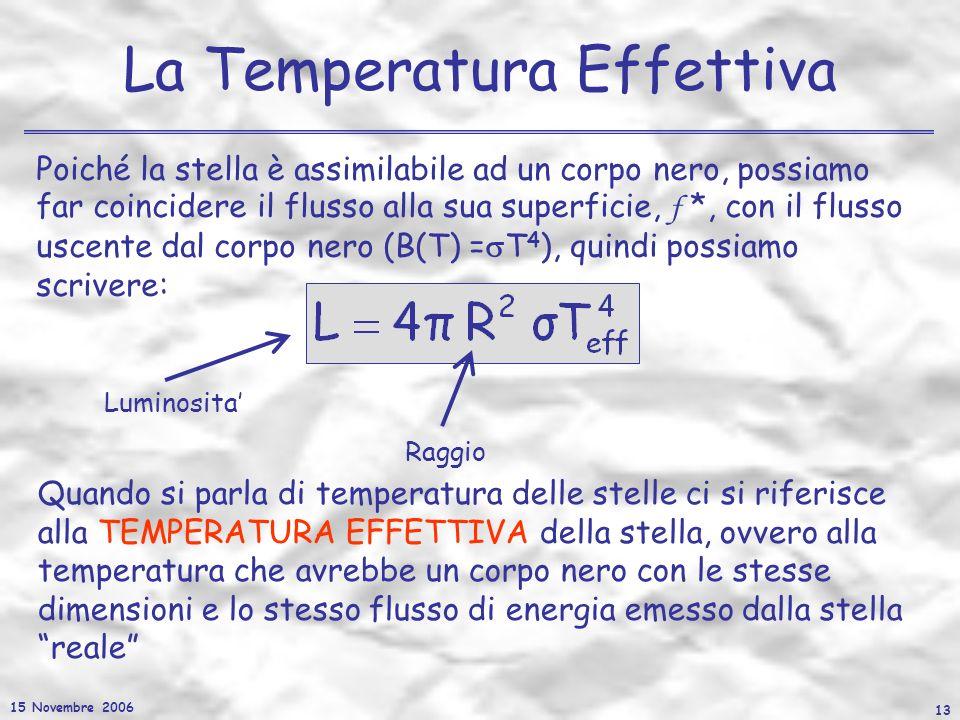 15 Novembre 2006 13 La Temperatura Effettiva Quando si parla di temperatura delle stelle ci si riferisce alla TEMPERATURA EFFETTIVA della stella, ovve