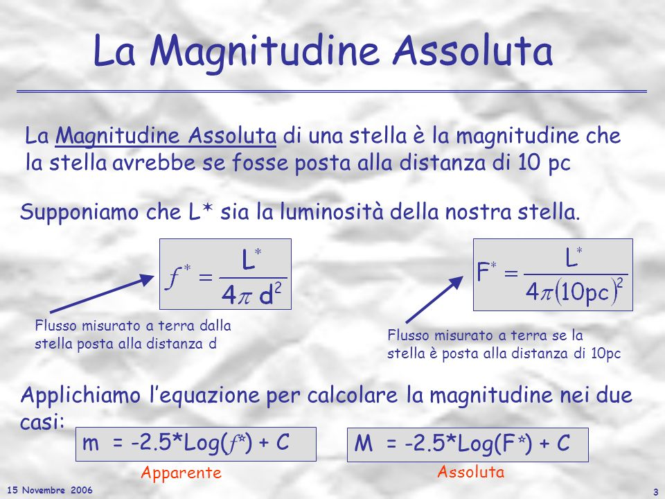 15 Novembre 2006 4 Il Modulo si Distanza M – m = 5-5*Log(d) Facciamo la differenza delle due magnitudini così ottenute: MODULO DI DISTANZA che puo essere scritta come: