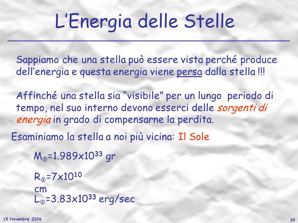 15 Novembre 2006 39 LEnergia delle Stelle Sappiamo che una stella può essere vista perché produce dellenergia e questa energia viene persa dalla stell