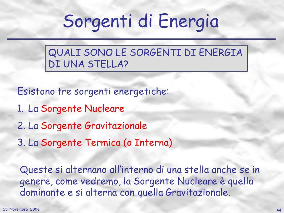 15 Novembre 2006 44 Sorgenti di Energia QUALI SONO LE SORGENTI DI ENERGIA DI UNA STELLA? Esistono tre sorgenti energetiche: 1.La Sorgente Nucleare 2.L