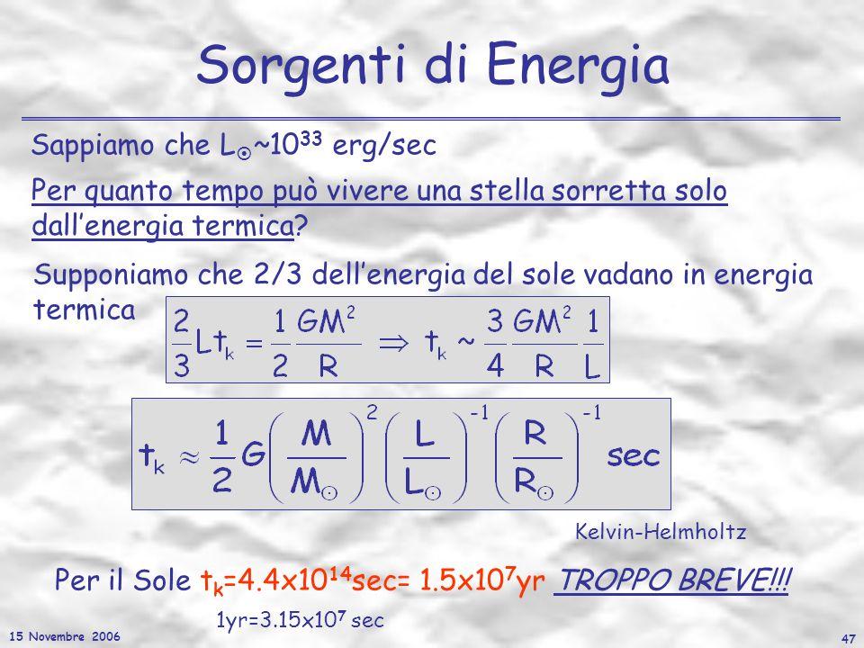 15 Novembre 2006 47 Sorgenti di Energia Sappiamo che L ~10 33 erg/sec Supponiamo che 2/3 dellenergia del sole vadano in energia termica Per quanto tem