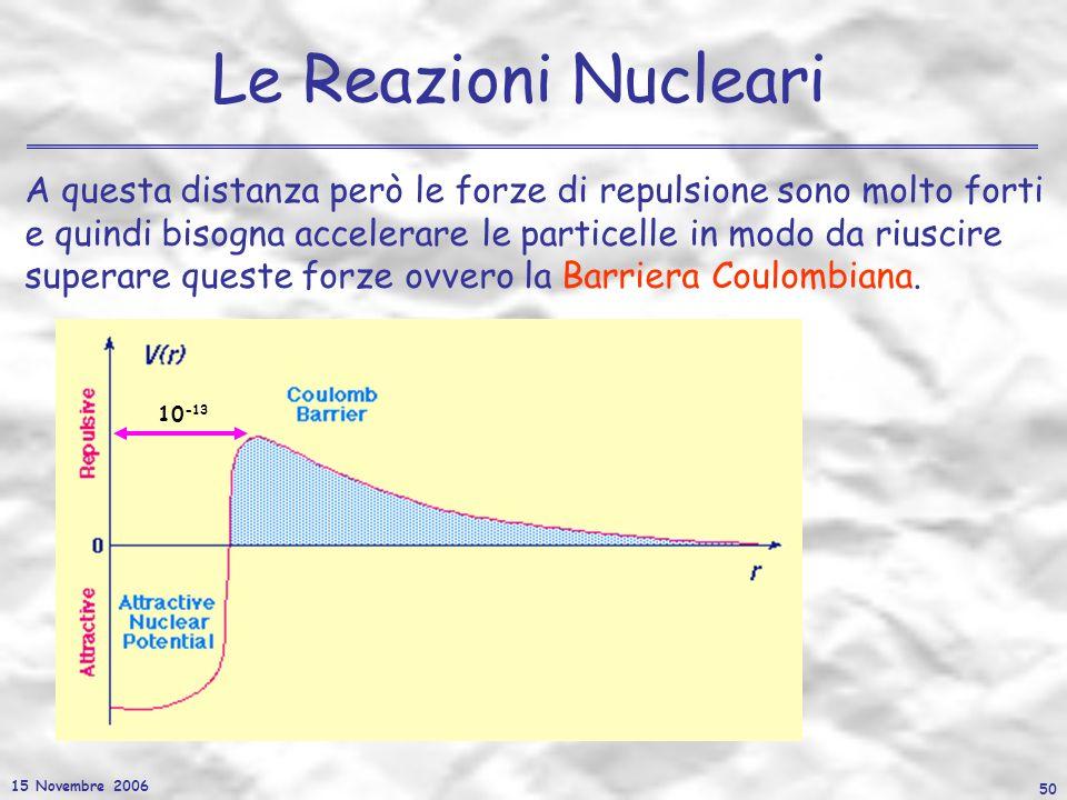 15 Novembre 2006 50 Le Reazioni Nucleari A questa distanza però le forze di repulsione sono molto forti e quindi bisogna accelerare le particelle in m