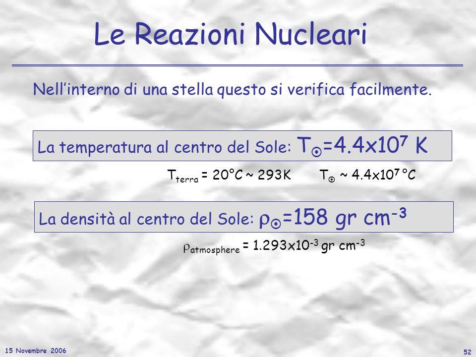 15 Novembre 2006 52 Le Reazioni Nucleari Nellinterno di una stella questo si verifica facilmente. La densità al centro del Sole: =158 gr cm -3 atmosph