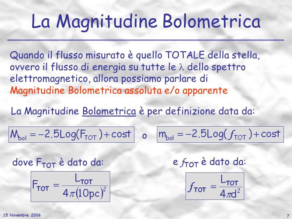 15 Novembre 2006 7 La Magnitudine Bolometrica Quando il flusso misurato è quello TOTALE della stella, ovvero il flusso di energia su tutte le dello sp