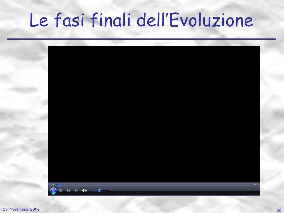 15 Novembre 2006 82 Le fasi finali dellEvoluzione
