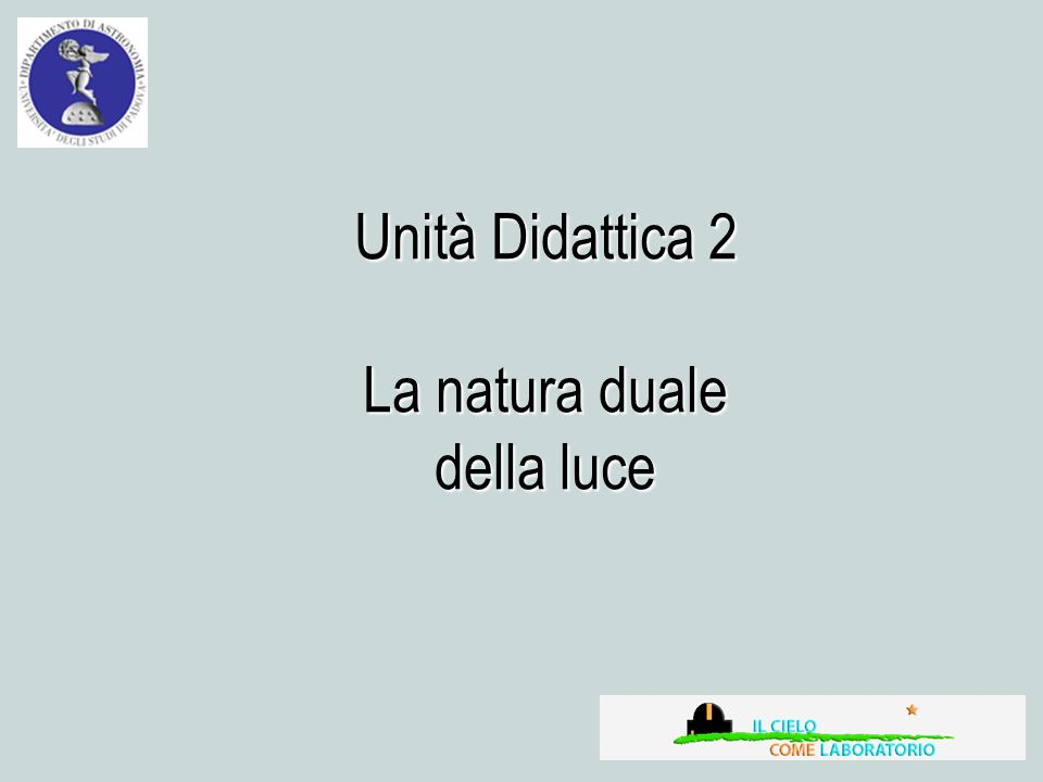 Unità Didattica 2 La natura duale della luce
