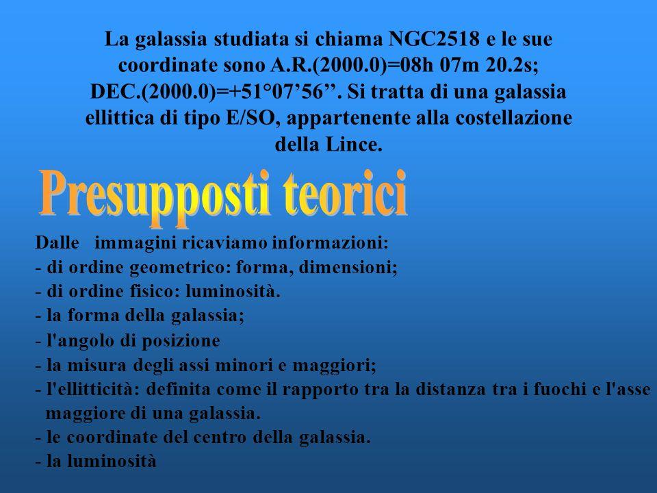 La galassia studiata si chiama NGC2518 e le sue coordinate sono A.R.(2000.0)=08h 07m 20.2s; DEC.(2000.0)=+51°0756.