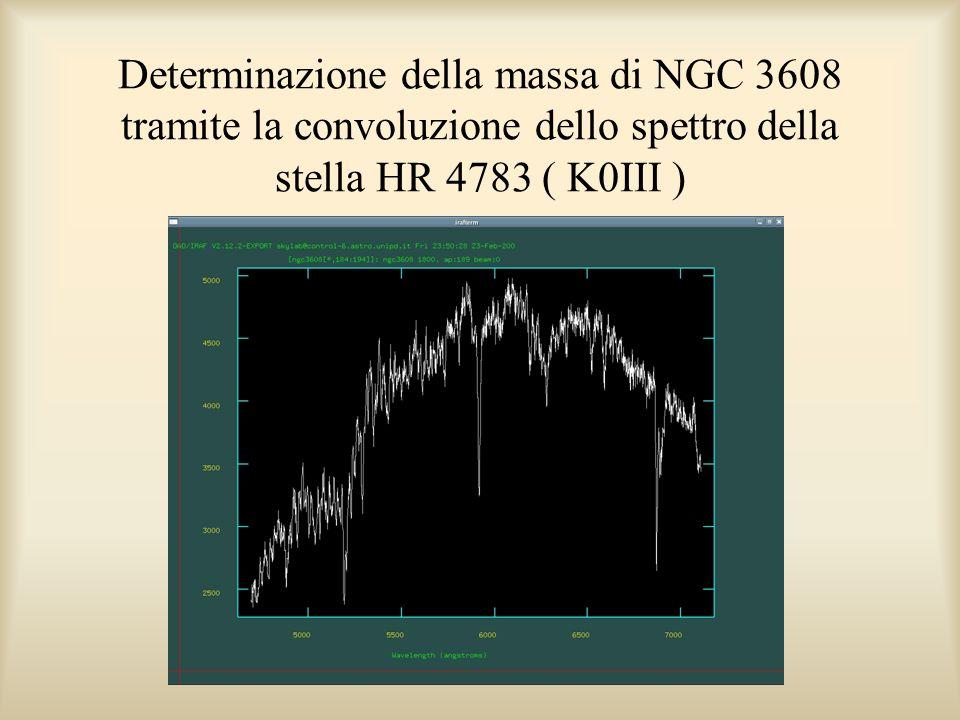 Determinazione della massa di NGC 3608 tramite la convoluzione dello spettro della stella HR 4783 ( K0III )
