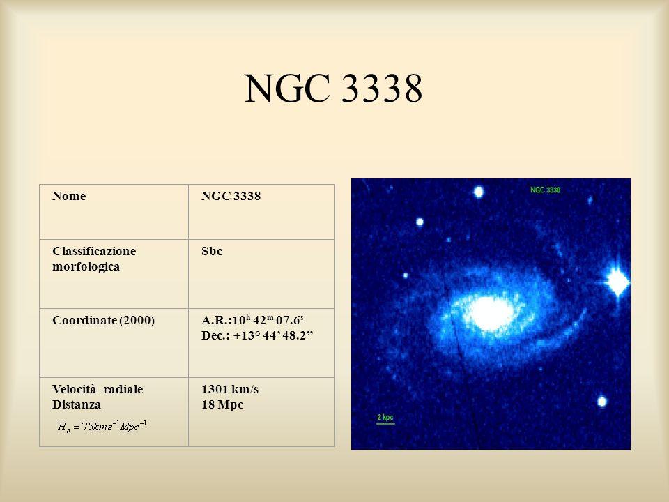 NGC 3338 NomeNGC 3338 Classificazione morfologica Sbc Coordinate (2000)A.R.:10 h 42 m 07.6 s Dec.: +13° 44 48.2 Velocità radiale Distanza 1301 km/s 18 Mpc