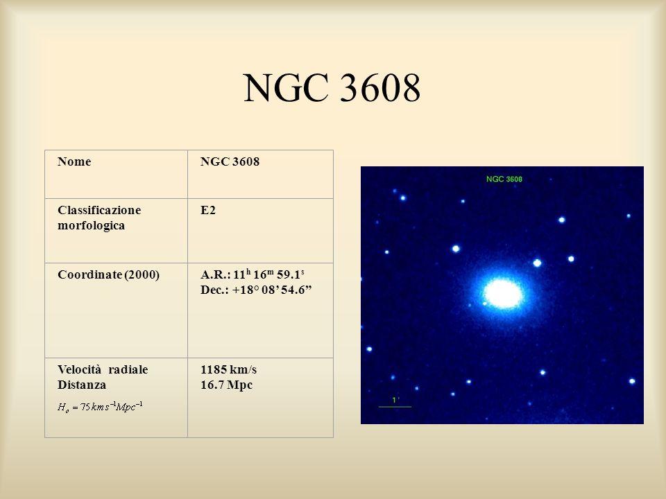 NGC 3608 NomeNGC 3608 Classificazione morfologica E2 Coordinate (2000)A.R.: 11 h 16 m 59.1 s Dec.: +18° 08 54.6 Velocità radiale Distanza 1185 km/s 16.7 Mpc
