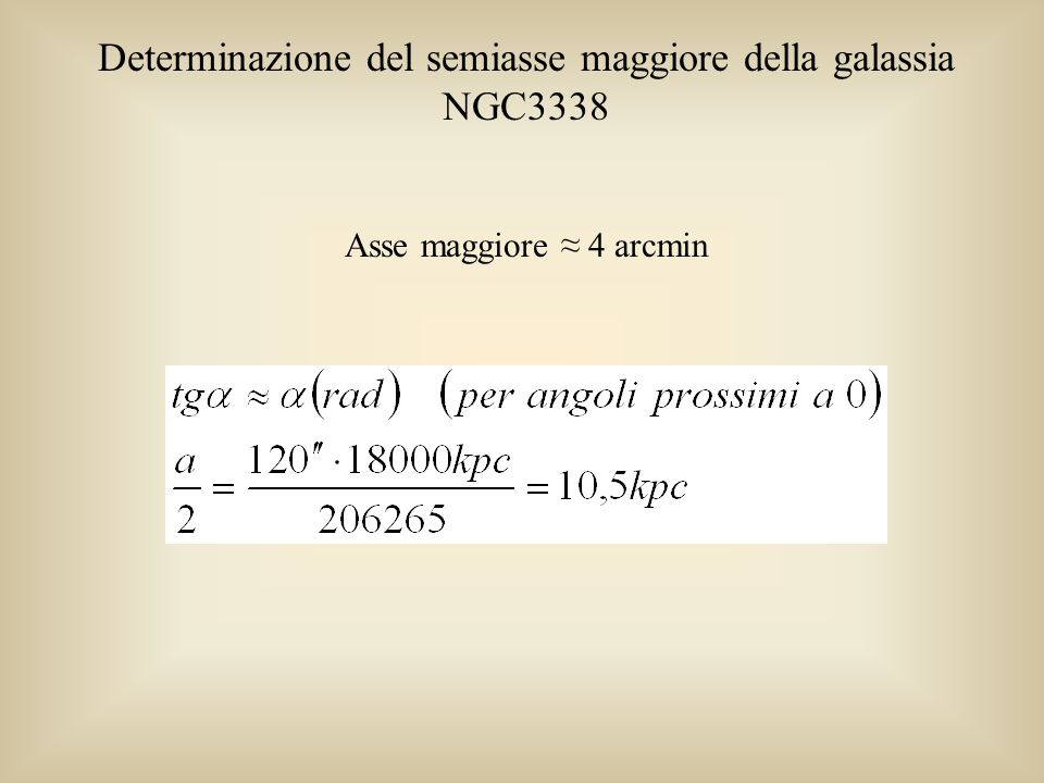 Determinazione del semiasse maggiore della galassia NGC3338 Asse maggiore 4 arcmin