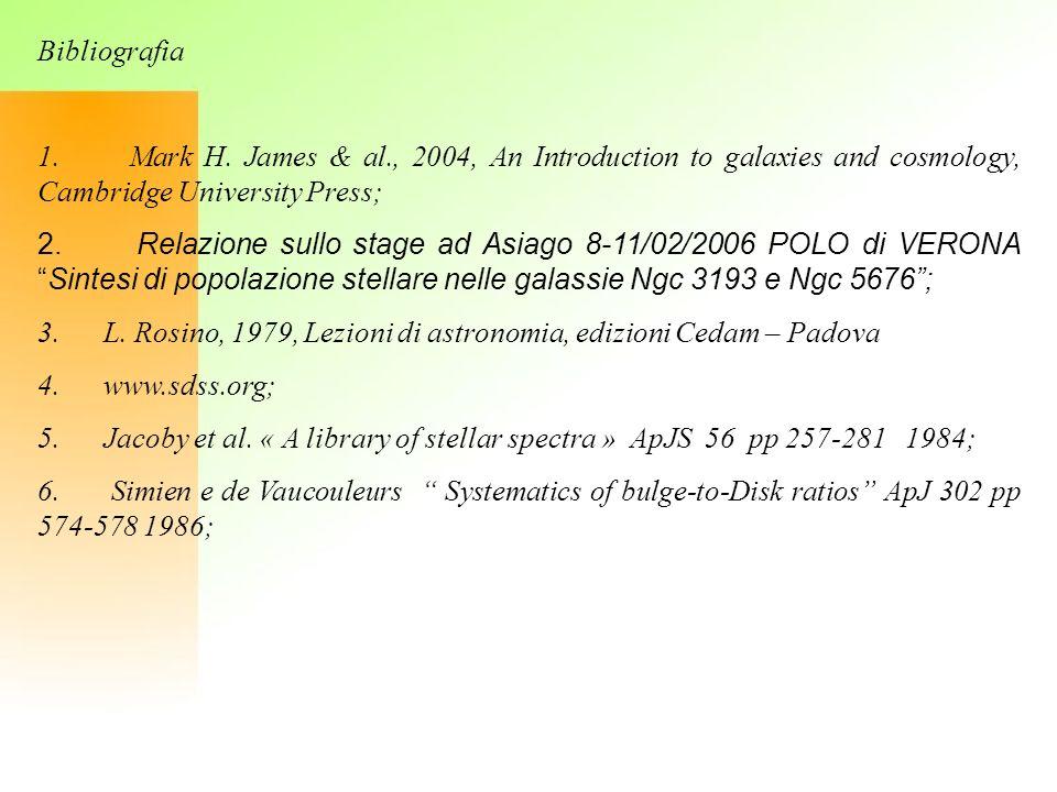 Bibliografia 1. Mark H. James & al., 2004, An Introduction to galaxies and cosmology, Cambridge University Press; 2. Relazione sullo stage ad Asiago 8