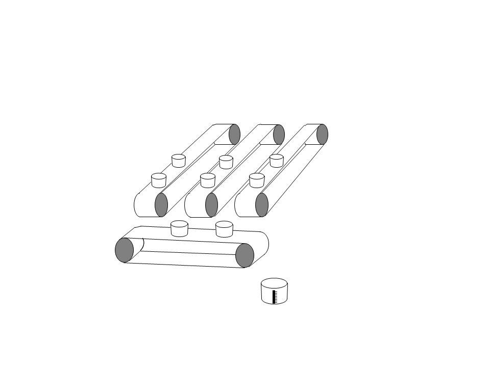 ` Il contenuto di ciascun secchi, posizionato sul nastro trasoprtatore orizzontale, viene svuotato nel recipiente graduato per la misura