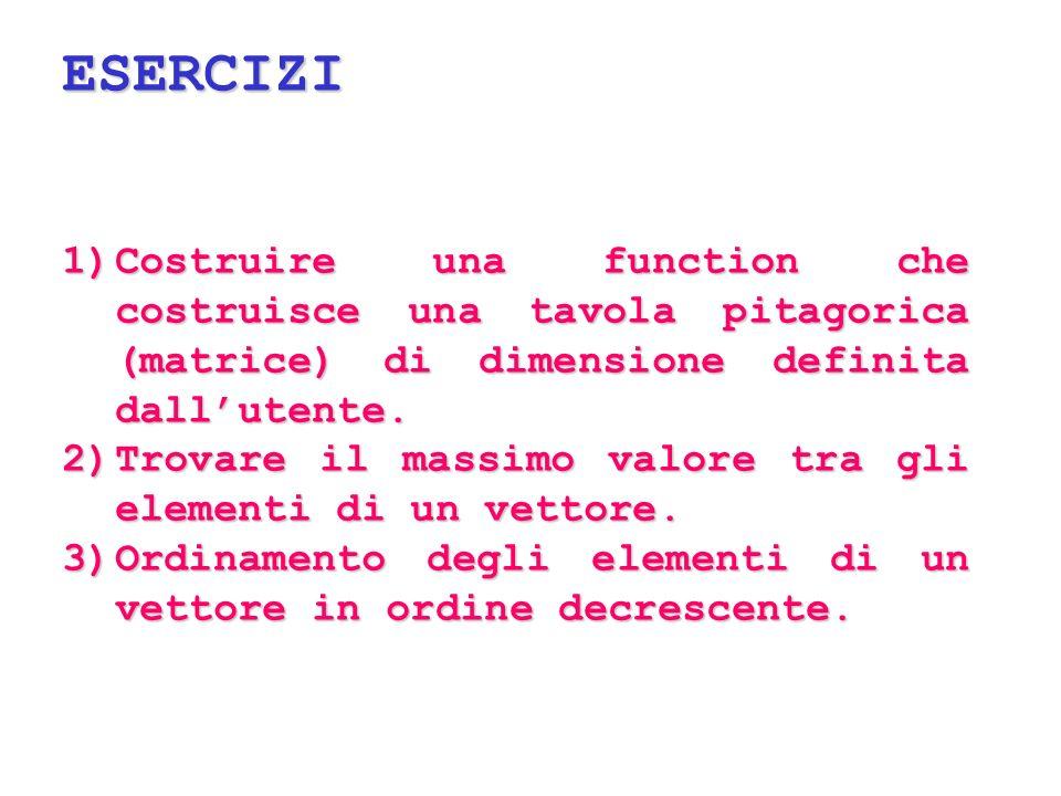 ESERCIZI 1)Costruire una function che costruisce una tavola pitagorica (matrice) di dimensione definita dallutente. 2)Trovare il massimo valore tra gl