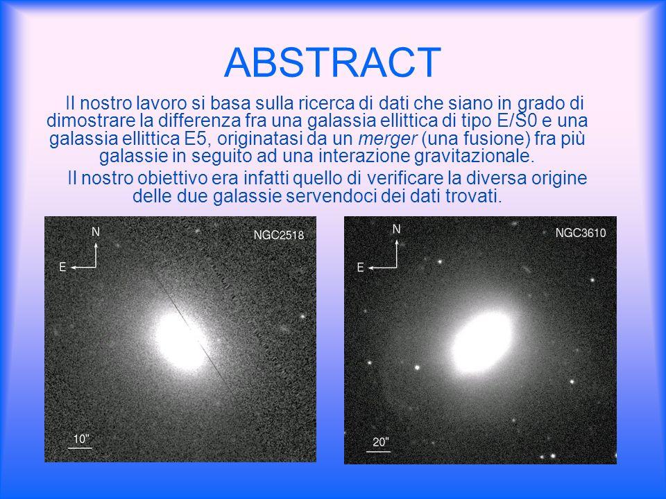 ABSTRACT Il nostro lavoro si basa sulla ricerca di dati che siano in grado di dimostrare la differenza fra una galassia ellittica di tipo E/S0 e una g