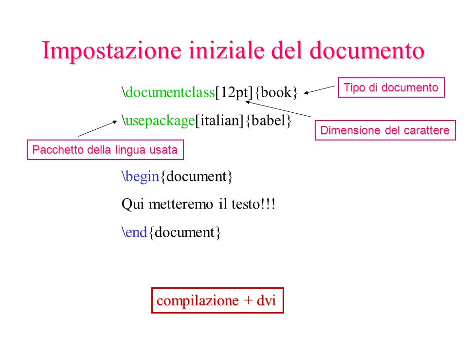 \documentclass[12pt]{book} \usepackage[italian]{babel} \begin{document} Qui metteremo il testo!!.