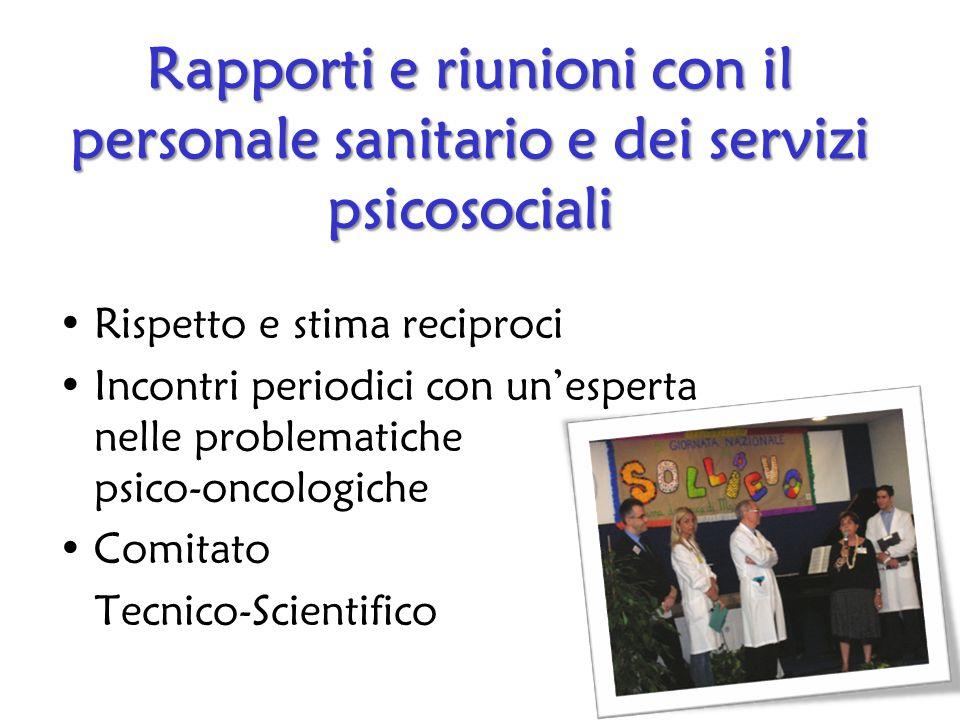 Rapporti e riunioni con il personale sanitario e dei servizi psicosociali Rispetto e stima reciproci Incontri periodici con unesperta nelle problematiche psico-oncologiche Comitato Tecnico-Scientifico