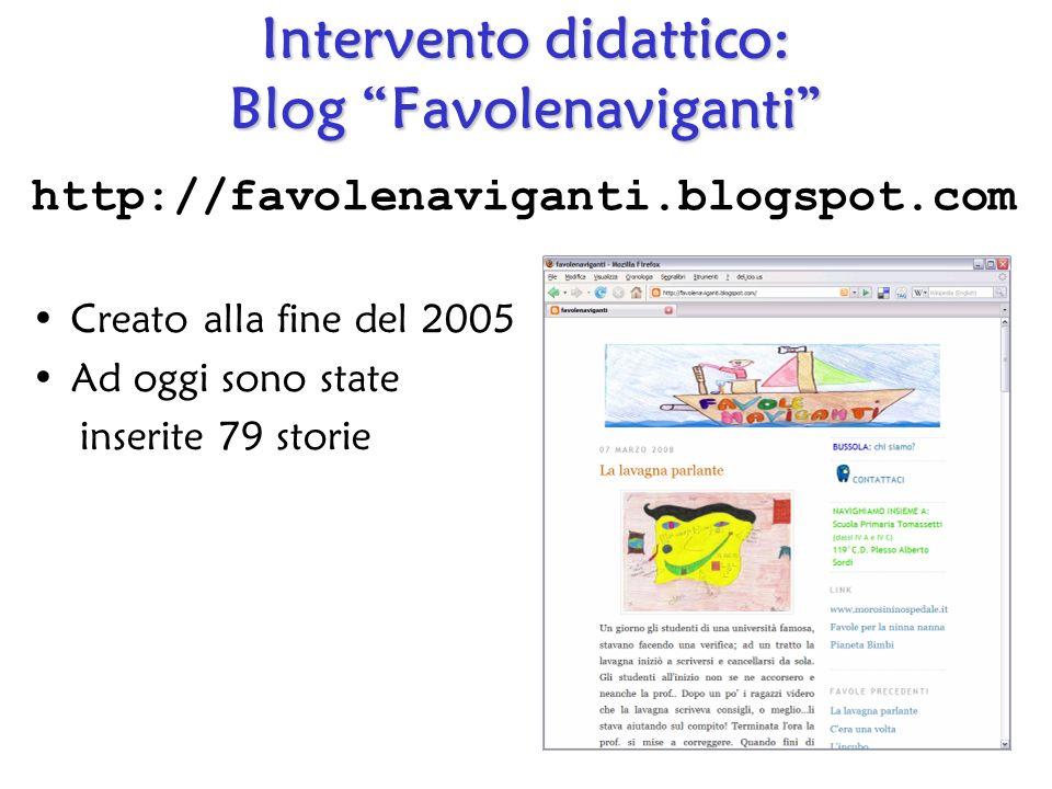 Intervento didattico: Blog Favolenaviganti http://favolenaviganti.blogspot.com Creato alla fine del 2005 Ad oggi sono state inserite 79 storie