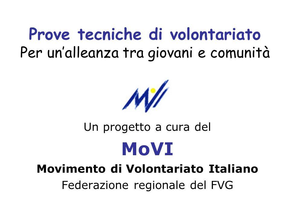 Prove tecniche di volontariato Per unalleanza tra giovani e comunità Un progetto a cura del MoVI Movimento di Volontariato Italiano Federazione region