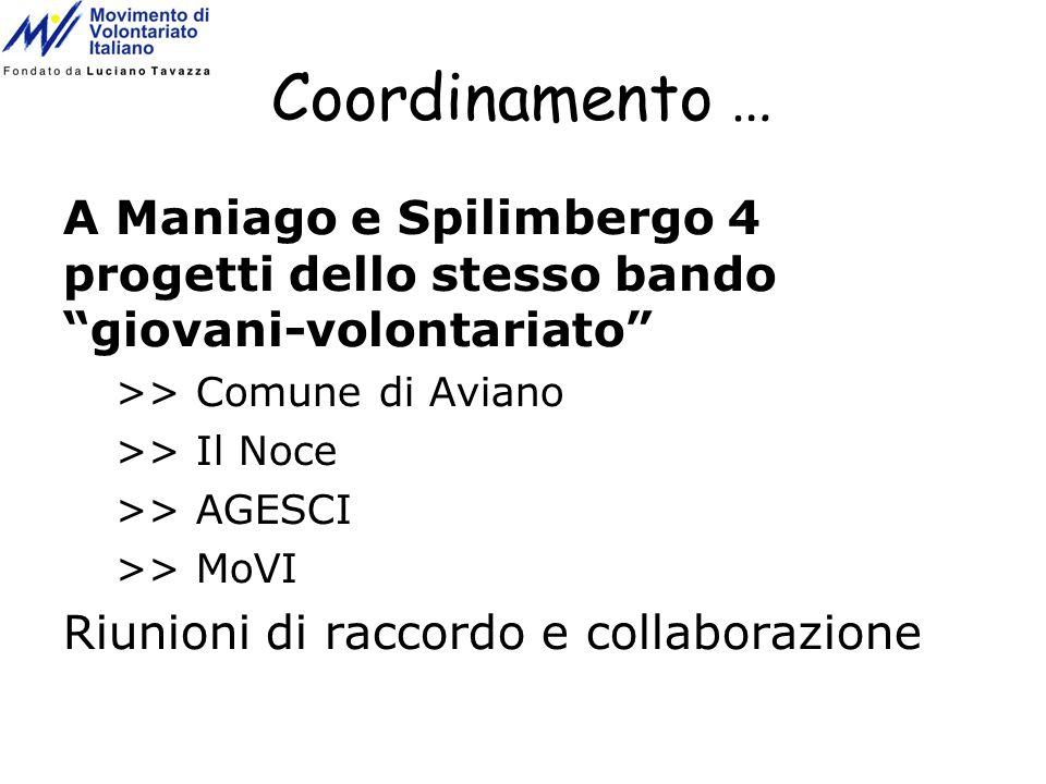 Coordinamento … A Maniago e Spilimbergo 4 progetti dello stesso bando giovani-volontariato >> Comune di Aviano >> Il Noce >> AGESCI >> MoVI Riunioni d
