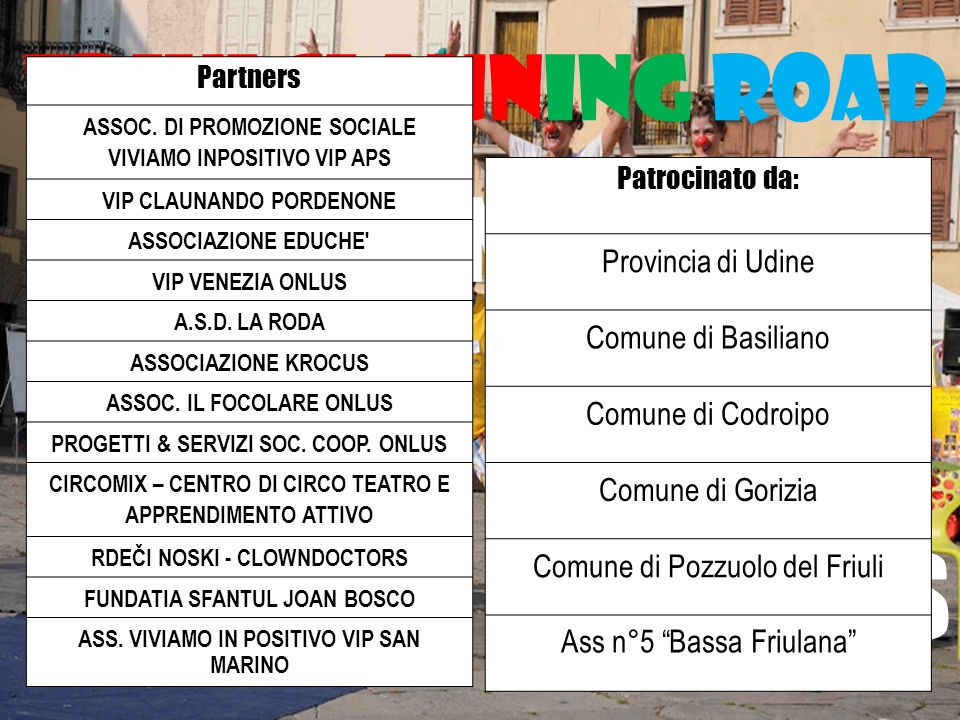 Friulclauning road FORMAZIONE DEI TUTOR PARTNERS Partners ASSOC.