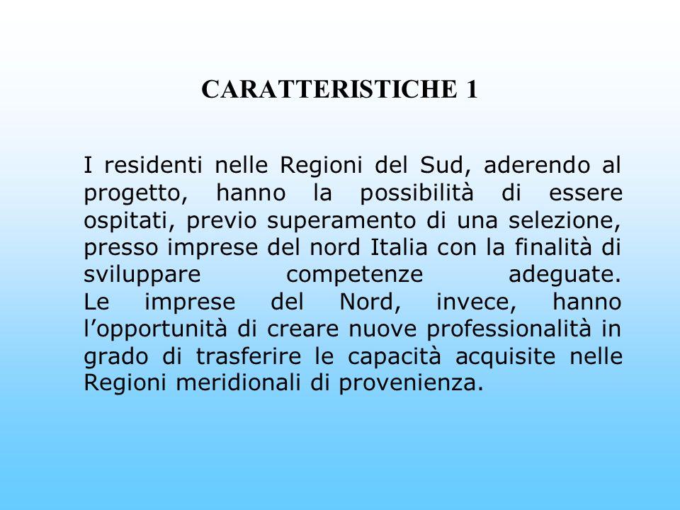 CARATTERISTICHE 1 I residenti nelle Regioni del Sud, aderendo al progetto, hanno la possibilità di essere ospitati, previo superamento di una selezione, presso imprese del nord Italia con la finalità di sviluppare competenze adeguate.