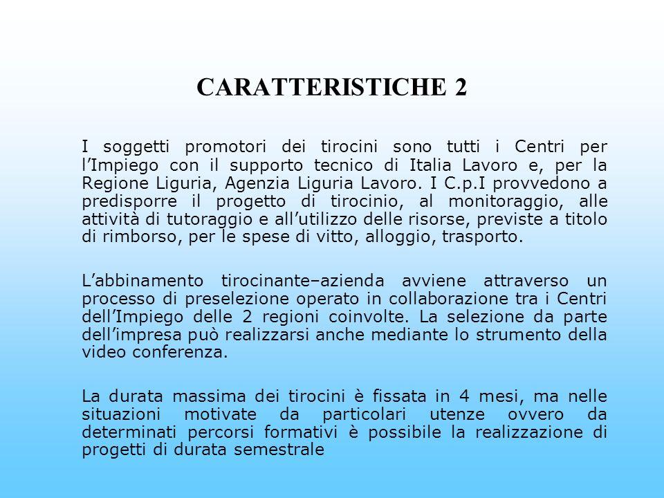 CARATTERISTICHE 2 I soggetti promotori dei tirocini sono tutti i Centri per lImpiego con il supporto tecnico di Italia Lavoro e, per la Regione Liguria, Agenzia Liguria Lavoro.