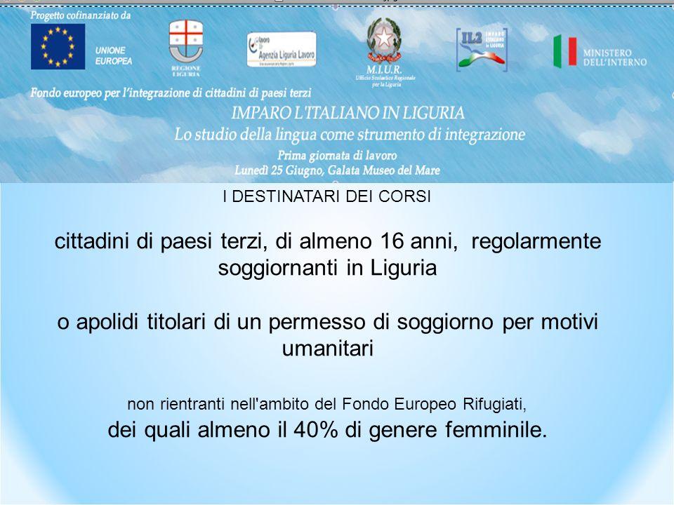 I DESTINATARI DEI CORSI cittadini di paesi terzi, di almeno 16 anni, regolarmente soggiornanti in Liguria o apolidi titolari di un permesso di soggiorno per motivi umanitari non rientranti nell ambito del Fondo Europeo Rifugiati, dei quali almeno il 40% di genere femminile.