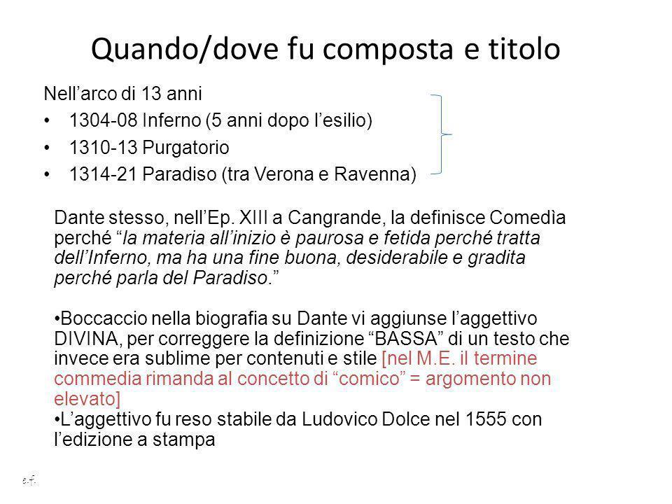 Quando/dove fu composta e titolo Nellarco di 13 anni 1304-08 Inferno (5 anni dopo lesilio) 1310-13 Purgatorio 1314-21 Paradiso (tra Verona e Ravenna)