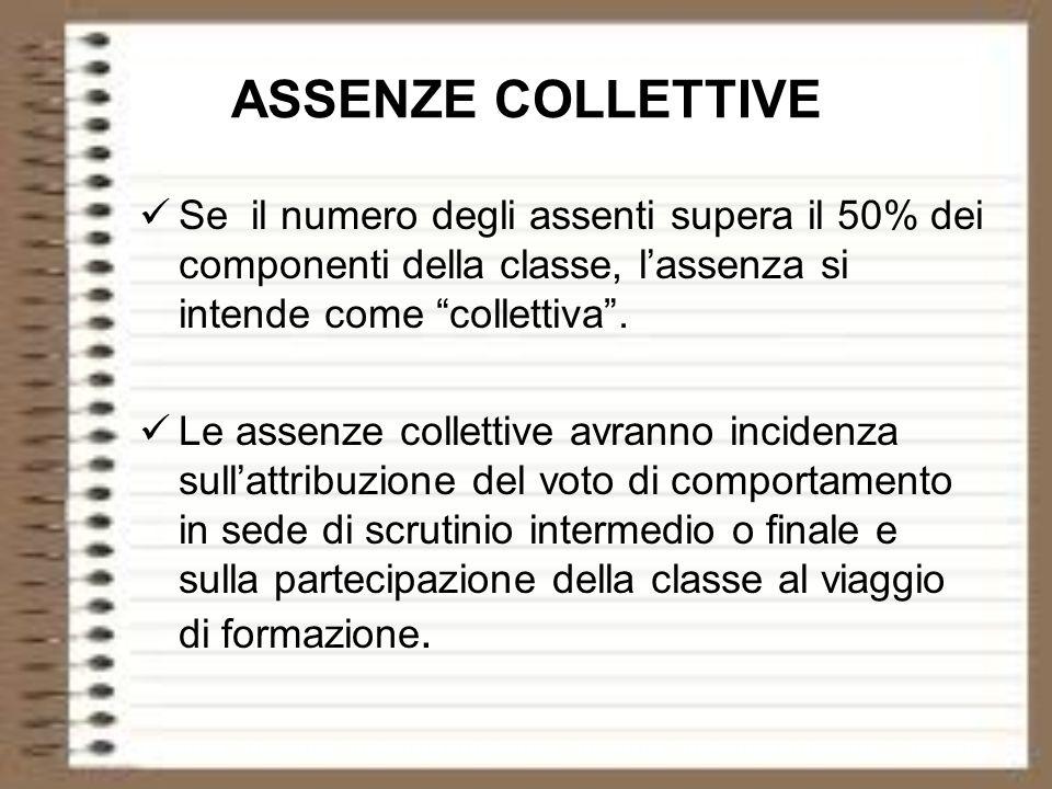 ASSENZE COLLETTIVE Se il numero degli assenti supera il 50% dei componenti della classe, lassenza si intende come collettiva. Le assenze collettive av