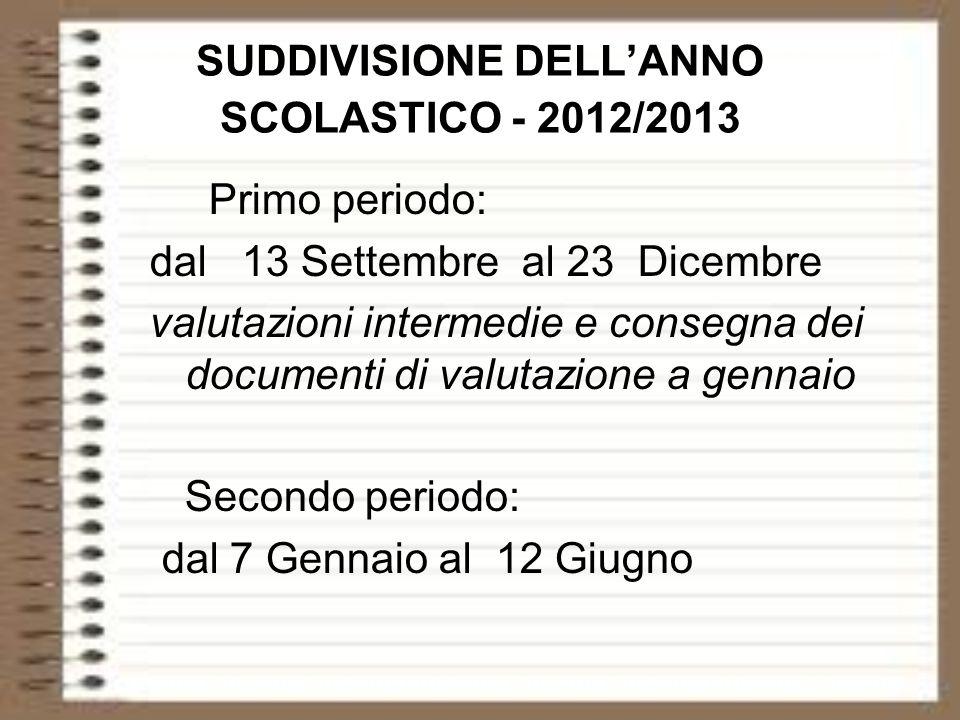 SUDDIVISIONE DELLANNO SCOLASTICO - 2012/2013 Primo periodo: dal 13 Settembre al 23 Dicembre valutazioni intermedie e consegna dei documenti di valutaz