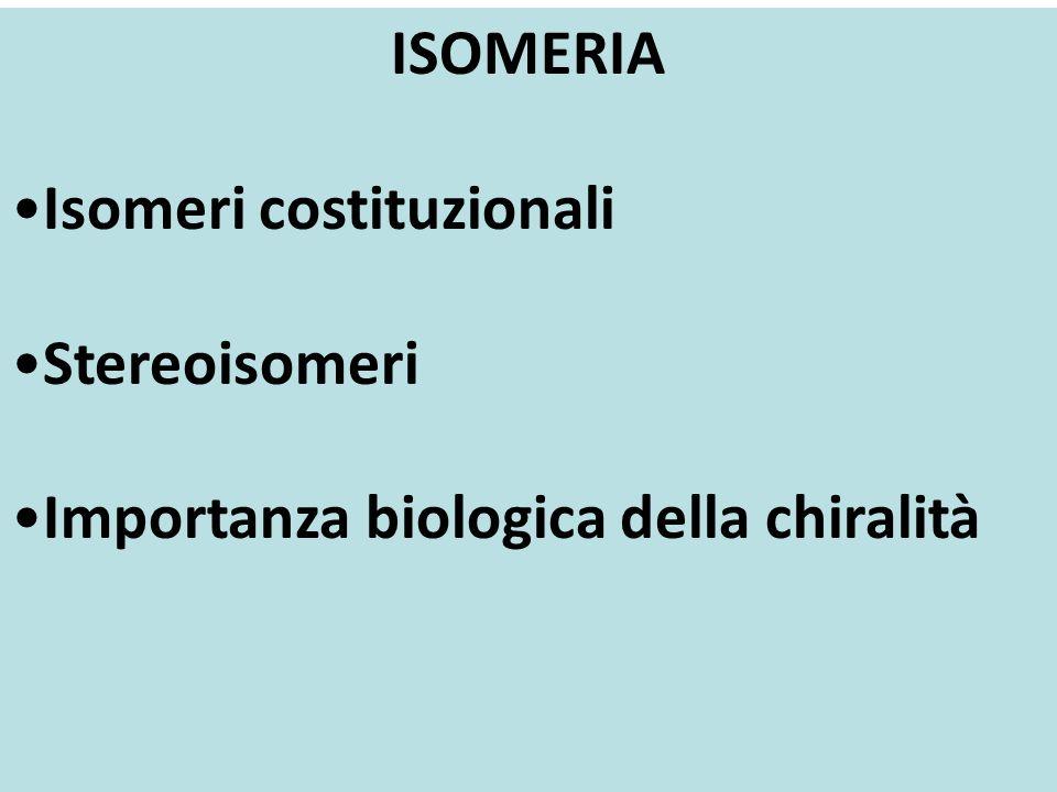 ISOMERI Si definiscono isomeri composti con identica formula molecolare, ma diversa struttura (concatenazione degli atomi) o diversa configurazione // conformazione (disposizione degli atomi nello spazio) N.B.