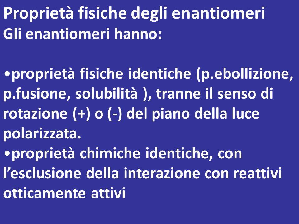 Non esiste alcuna correlazione tra la configurazione degli enantiomeri e il senso in cui ruotano il piano della luce polarizzata Il D(-)Fruttosio viene chiamato anche levulosio, in quanto è un composto levogiro