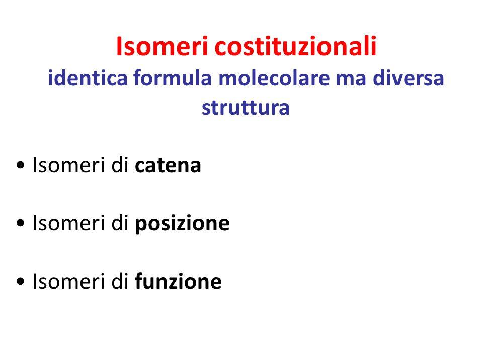 Isomeri costituzionali identica formula molecolare ma diversa struttura Isomeri di catena Isomeri di posizione Isomeri di funzione