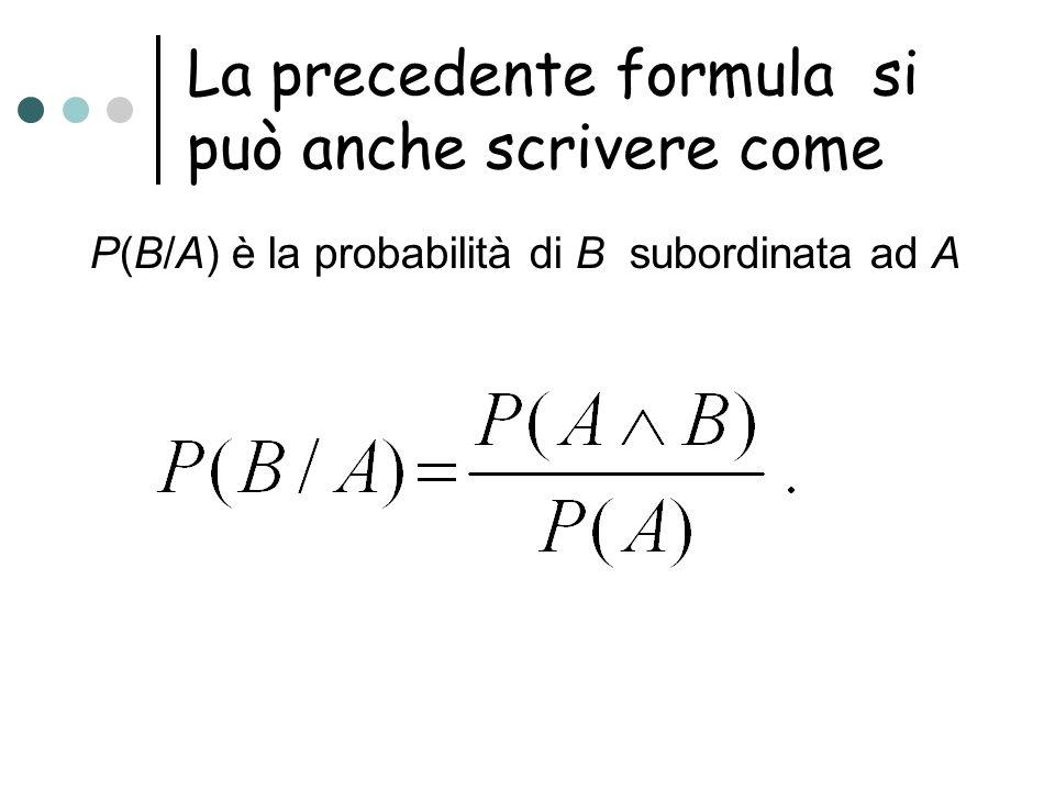 La precedente formula si può anche scrivere come P(B/A) è la probabilità di B subordinata ad A