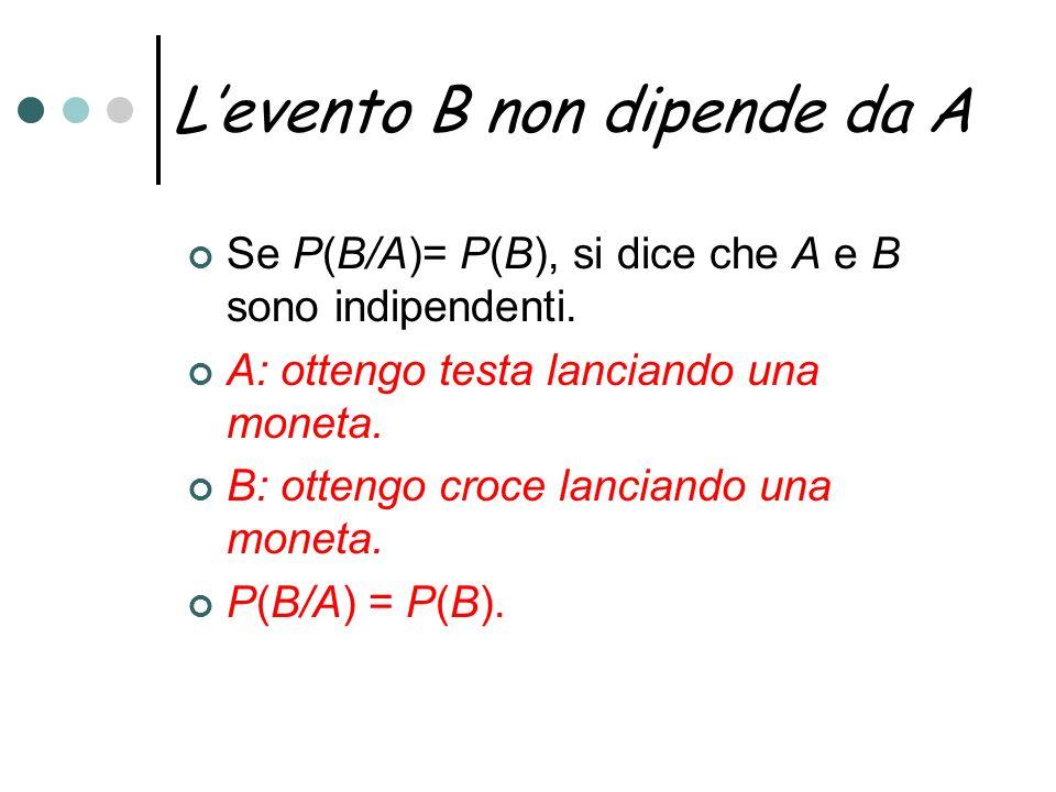 Levento B non dipende da A Se P(B/A)= P(B), si dice che A e B sono indipendenti. A: ottengo testa lanciando una moneta. B: ottengo croce lanciando una