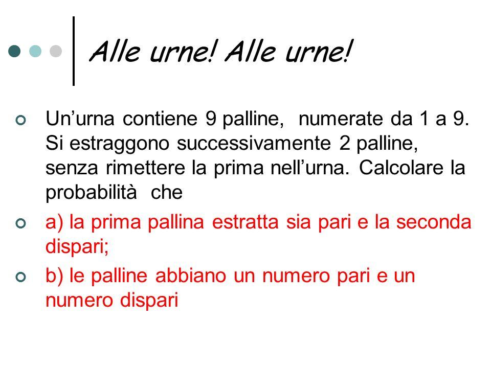 Alle urne! Unurna contiene 9 palline, numerate da 1 a 9. Si estraggono successivamente 2 palline, senza rimettere la prima nellurna. Calcolare la prob