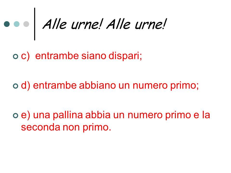 Alle urne! Alle urne! c) entrambe siano dispari; d) entrambe abbiano un numero primo; e) una pallina abbia un numero primo e la seconda non primo.