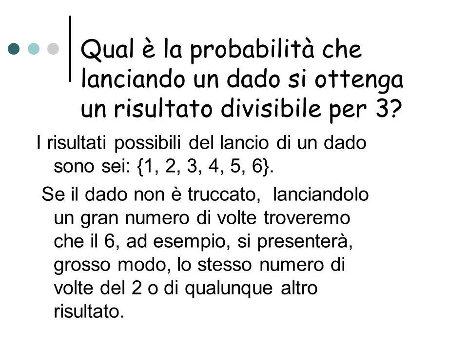 Qual è la probabilità che lanciando un dado si ottenga un risultato divisibile per 3? I risultati possibili del lancio di un dado sono sei: {1, 2, 3,