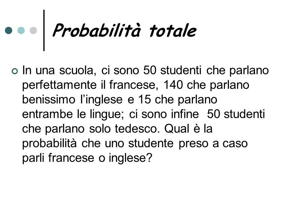 Probabilità totale In una scuola, ci sono 50 studenti che parlano perfettamente il francese, 140 che parlano benissimo linglese e 15 che parlano entra