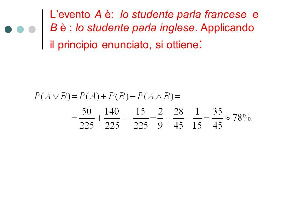 Levento A è: lo studente parla francese e B è : lo studente parla inglese. Applicando il principio enunciato, si ottiene :