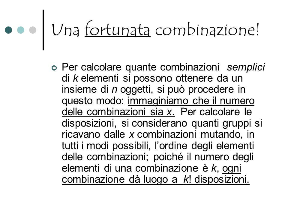 Una fortunata combinazione! Per calcolare quante combinazioni semplici di k elementi si possono ottenere da un insieme di n oggetti, si può procedere