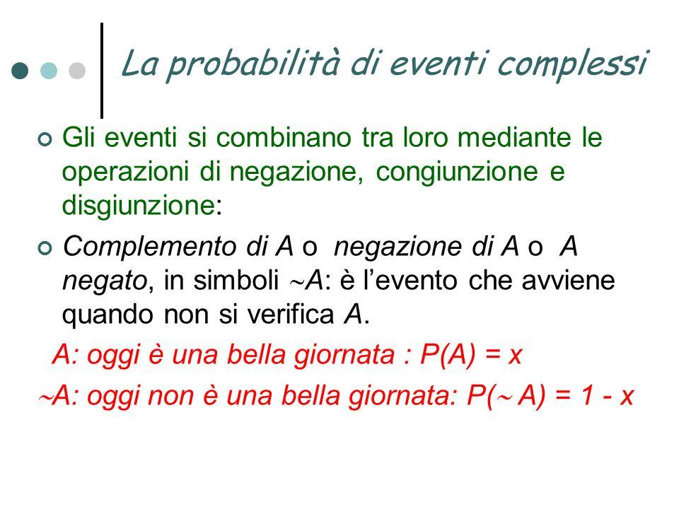 La probabilità di eventi complessi Gli eventi si combinano tra loro mediante le operazioni di negazione, congiunzione e disgiunzione: Complemento di A