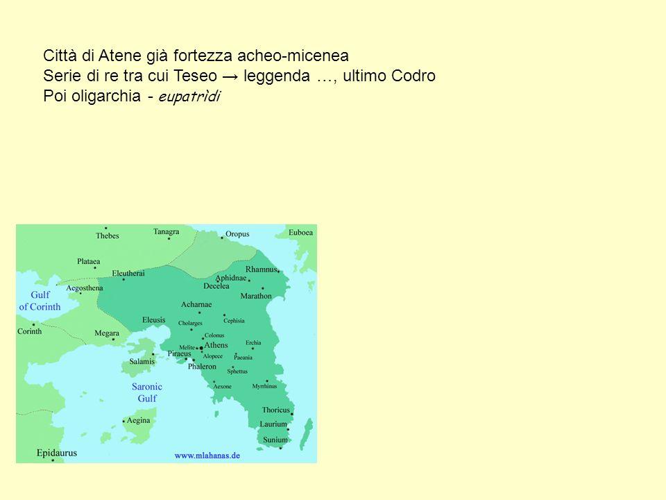 Città di Atene già fortezza acheo-micenea Serie di re tra cui Teseo leggenda …, ultimo Codro Poi oligarchia - eupatrìdi
