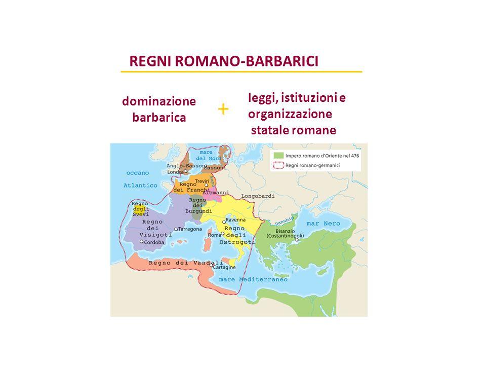 REGNI ROMANO-BARBARICI dominazione barbarica + leggi, istituzioni e organizzazione statale romane